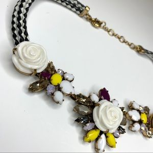 J. Crew White Rose Statement Necklace